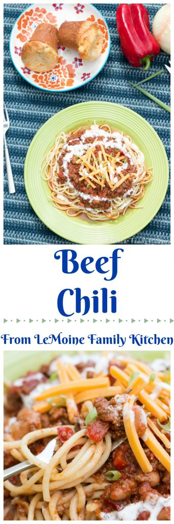 One dish that I really look forward to as the weather cools off is my simple and delicious Beef Chili served Cincinnati style! The Beef Chili is hearty, so full of flavor and trust me, perfect served over spaghetti! This will certainly keep you warm and satisfied!
