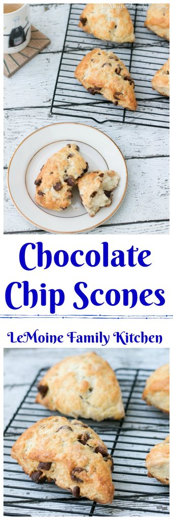 Oh yes!!! Another scone recipe!!! I just can't help myself! I love making them, they are delicious and they freeze perfectly. These Chocolate Chip Scones are a favorite around my house... can you blame them? Warm gooey chocolate right out of the oven? Doesn't get much better then that.