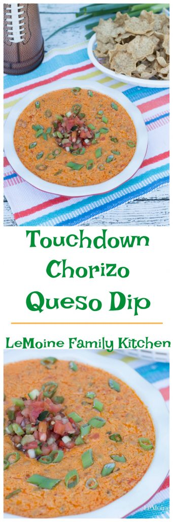 Football season is such a perfect reason to get together with friends and family to watch your favorite team play. Even if you aren't into football its a perfect excuse to get together for delicious food! This Touchdown Chorizo Queso Dip is packed with incredible flavor and super easy to make!