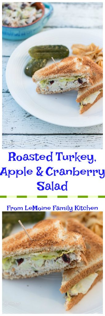 Roast Turkey, Apple & Cranberry Salad. Perfect use of leftover turkey! This salad makes for a great lunch sandwich or on a bed of greens.