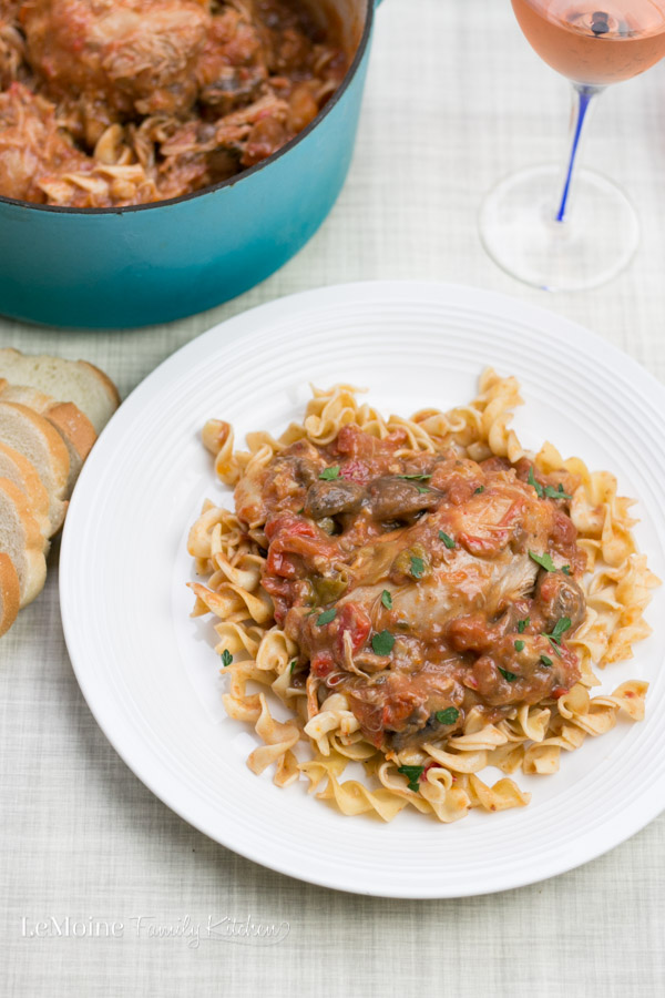Chicken Cacciatore is a really hearty, rustic, complete Italian meal. There are many different variations out there but today I'm sharing our family favorite. Get a loaf of bread because you are going to want to soak up all that goodness!