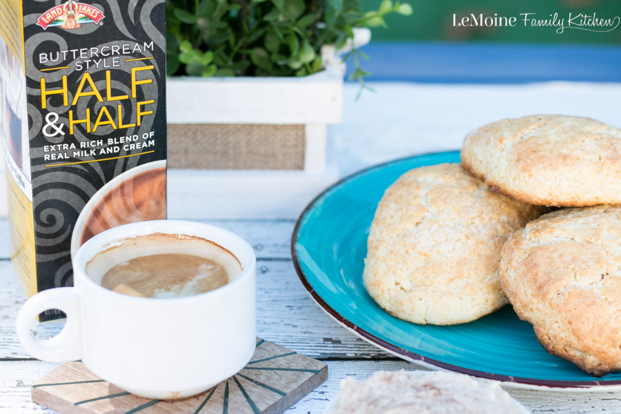 How do you start your mornings? Mine always start with a double shot of espresso and a splash of half and half. Recently I had the chance to try the NEW Land O'Lakes® Buttercream Style Half & Half not only in my morning espresso but I used it in my recipe for this perfect Sweet Biscuits with Honey Cinnamon Butter.