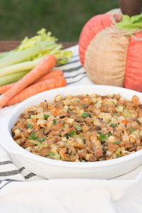 Thanksgiving is just around the corner so I am here today sharing one of my favorite side dishes... my Apple Chestnut Stuffing. Its easy to make and so full of flavor. A perfect addition to your holiday menu.