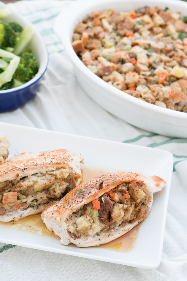 So the other day I shared my fabulous Apple Chestnut Stuffing and today I'm sharing with you these Apple Chestnut Stuffing Stuffed Chicken Breasts! I know its a weird and long recipe title but I got stuck. I will say, this is one DELICIOUS recipe and a great way to use up some Thanksgiving leftover stuffing!