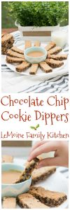In my book, December 1st means time to get ready for the holidays and get baking! One of my favorite family Christmas traditions is making cookies. Today I'm sharing a really fun one that would be a welcomed addition to any cookie tray! Chocolate Chip Cookie Dippers are easy to make, chock full of chocolate and served with a 3 ingredient Peanut Butter Dip!