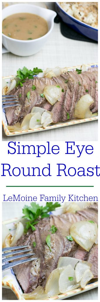 Simple Eye Round Roast. Simply seasoned, juicy and covered in a delicious pan gravy. This is a great meal during the week or for a small family gathering! I served it with couscous and cauliflower oreganata.