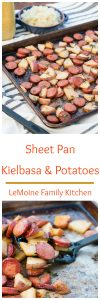 I love a meal thats not only easy to make, full of flavor but is also a fast clean up! Sheet pan meals are so perfect for busy weeknights and this Sheet Pan Kielbasa & Potatoes is one of my new favorites for sure! Served with sauerkraut and plenty of spicy brown mustard- this is a great recipe!