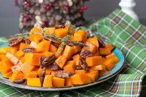 When it comes to holiday entertaining we are always a big group so I like to keep things really simple. ThisRoasted Butternut Squash with Spiced Pecans is so flavorful and easy to throw together. How gorgeous are the colors too?!