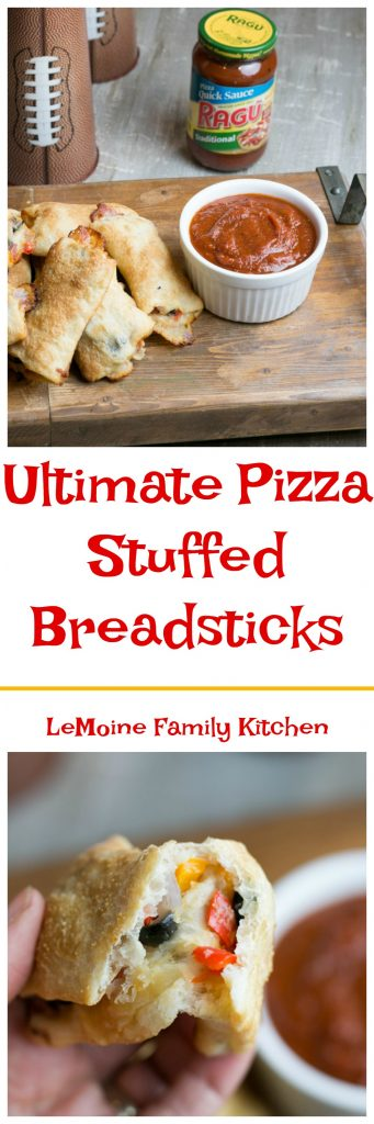 #ad Ok friends! When Game Day is just around the corner and you've got friends coming by what do you cook up? Today I'm sharing with you these Ultimate Pizza Stuffed Breadsticks served with RAGÚ® Pizza Quick Traditional Sauce. They are super simple to make and so delicious! Trust me, these will not last long!