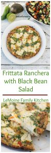 Frittatas are so great for breakfast, brunch, lunch or dinner! It really takes little effort, little time and a handful of ingredients to throw together this incredibly delicious Frittata Ranchera with Black Bean Salad.