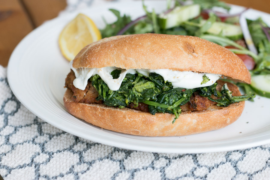 I LOVE a good Italian sandwich, or as we call it, a sub. This Chicken Cutlet, Broccoli Rabe & Fresh Mozzarella Sub is served on a toasted garlic bread roll and is by far one of our favorite combinations! This is my kind of comfort food!