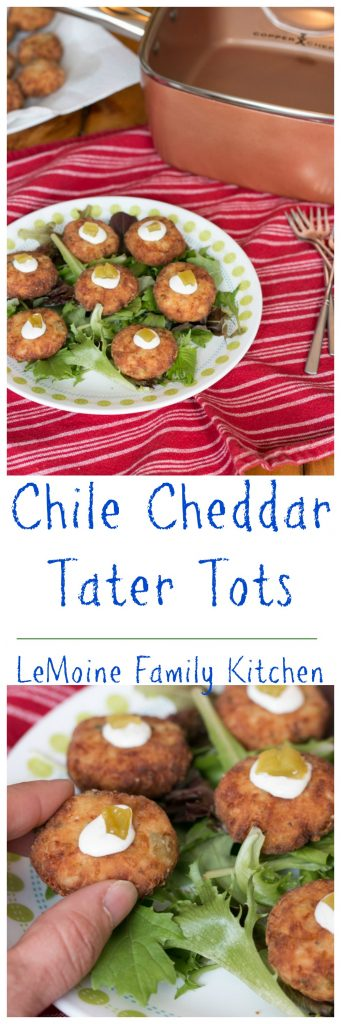 I am a potato lover and really had so much fun coming up with the recipe for these Chile Cheddar Tater Tots! They require only a handful of ingredients, have great flavor and ae perfectly crisp on the outside! These are great for the kiddos and adults alike and work wonderfully as a party snack too! #ad #copperchef