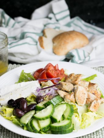 With Spring just around the corner I have been really craving salads lately. I  made this Greek Chicken Salad with Lemon Oregano Dressing the other day and WOW! So simple to make but so much incredible flavor.  #healthy #salad