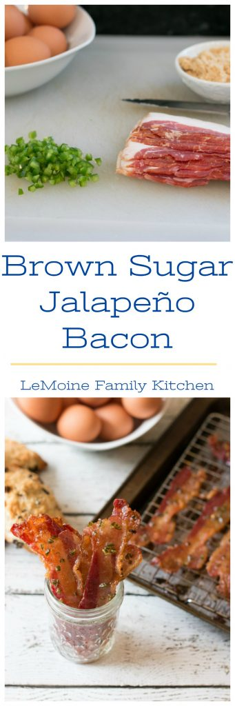 I don't know about you but I absolutely LOVE bacon!! I was sitting down the other day working on my Mothers Day Brunch menu and came across this really simple recipe for Brown Sugar Jalapeño Bacon. I couldn't resist! Being a good momma, I had to of course make a batch to taste test- oh who am I kidding I  just couldn't wait! This bacon is perfection!