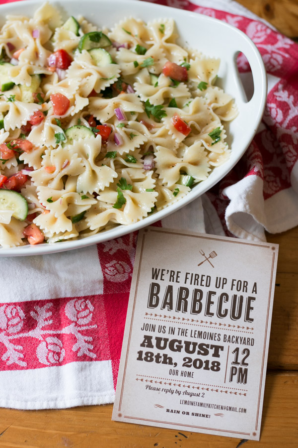 {ad} I love summer entertaining whether it be a simple backyard BBQ, a really fun clambake or hosting a milestone celebration. Today I'm sharing with you my really simple, tasty and colorfulItalian Tomato Cucumber Pasta Salad PLUS The Perfect Party Invite! #basicinvite