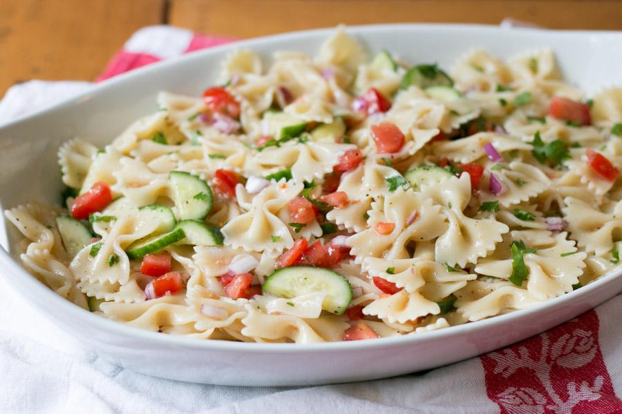 Italian Tomato Cucumber Pasta Salad