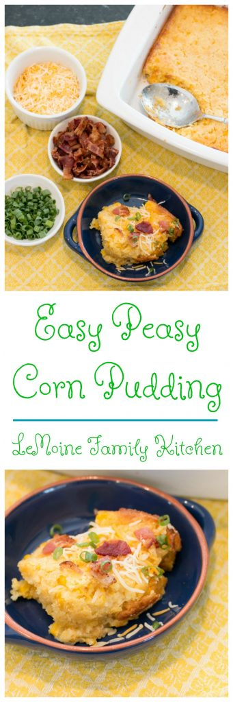 To me summer cooking is all about easy! We are too busy to fuss with anything that takes up too much time so I    am always looking for homemade, delicious and simple! This Easy Peasy Corn Pudding is just that and can I tell you- it was a HUGE hit with my family!! Just 5 ingredients and so tasty! I even added a few topping options to jazz things up a bit.