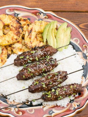 Beef Teriyaki Kofta Kebab with Grilled Pineapple