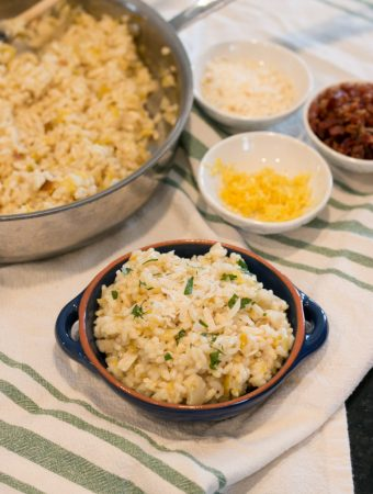 I  absolutely love risotto! The creaminess, the endless possibilities of flavors and the simple comfort of a bowl of risotto. This Lemon Leek Risotto is so good. Simple ingredients, a little patience and big flavor. I think you'll be surprised at how easy it actually is to make this dish.
