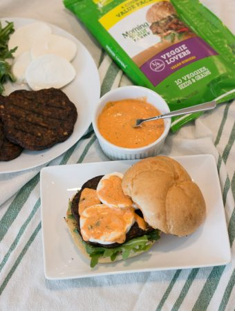 Veggie Burger with Mozzarella, Arugula & Red Pepper Mayo