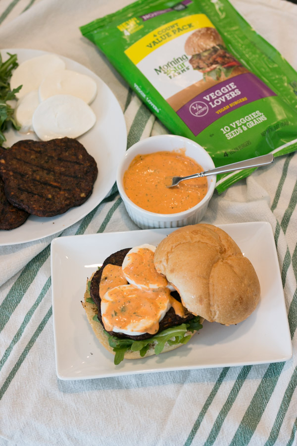 Boy do I  have a really easy, flavor packed, delicious dish for you today!! I  grilled up the most fantastic Veggie Burger with Mozzarella, Arugula & Red Pepper Mayo! Thanks to my favorite MorningStar® Farms Veggie Lovers Burgers this meal comes together so quickly and has a 10 veggies, seeds and grains in just the vegan burger patty! This is my kind of summer grilling!  #Ad #MorningStarFarms #MakeRoomOnYourGrill