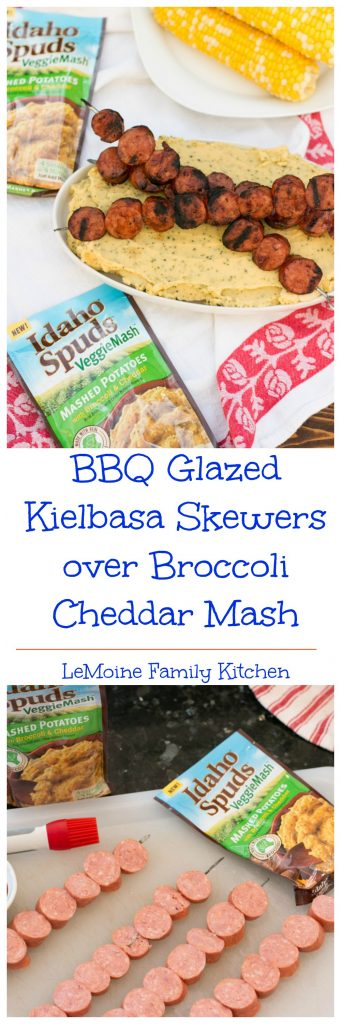 You guys! This might be one of the easiest meals I've ever thrown together for my family. BBQ Glazed Kielbasa Skewers over Broccoli Cheddar Mash ready on the table in under 15 minutes! You'll love how easy it is and the whole family will love how delicious it is! #VeggieMash #ad