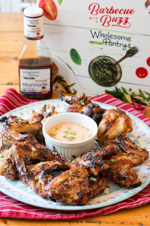 #ad Grilling season is still going strong around here! My latest is these Grilled Teriyaki Wings with Sweet Chili Dipping Sauce that I  made for a family BBQ and let me tell ya, they were a HUGE hit!! So easy to make and so much flavor thanks to the Wholesome Pantry Teriyaki Marinade.