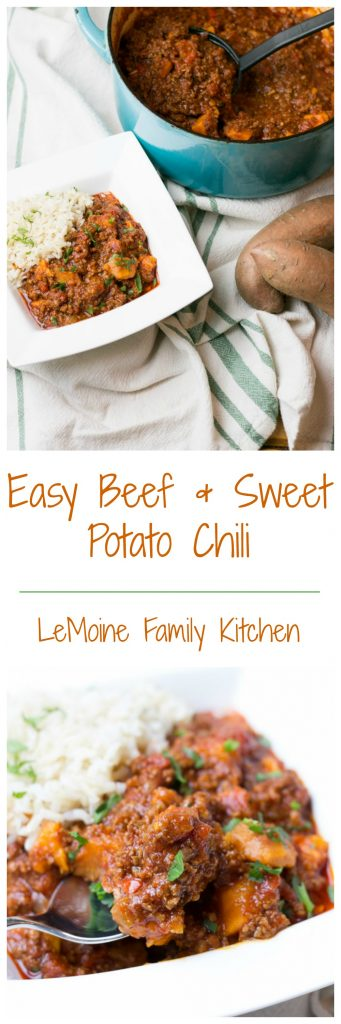 Its coming! Fall starts this weekend and I am ready for beautiful changing leaves, crisp nights, firepit in the backyard and warm and comforting meals like this Easy Beef & Sweet Potato Chili.  I  love the subtle sweetness that the sweet potato brings to chili. Its so easy to throw together too! Great weeknight meal!  #claytonsorganicbeef #ad