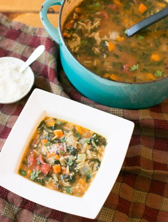 I love Summer- the beach days, the warmth of the sun, the grilling but I really love that we live in a state that gets all the seasons. As soon as that air gets a chill in it I jump into soup mode! This Easy Vegetable Orzo Soup truly couldn't be any easier and the flavors are fantastic!! Oh and start to finish this is on the table in under 20 minutes!