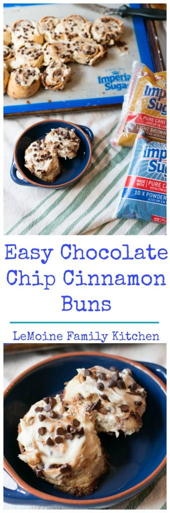 I am really enjoying all this baking for #Choctoberfest 2018! Today I'm sharing an absolutely delicious recipe for Easy Chocolate Chip Cinnamon Buns!! Thanks to our Gold Host, Imperial Sugar, this sweet treat is easy and so tasty! Crescent dough, brown sugar, cinnamon & chocolate finished with a cream cheese frosting- how perfect!