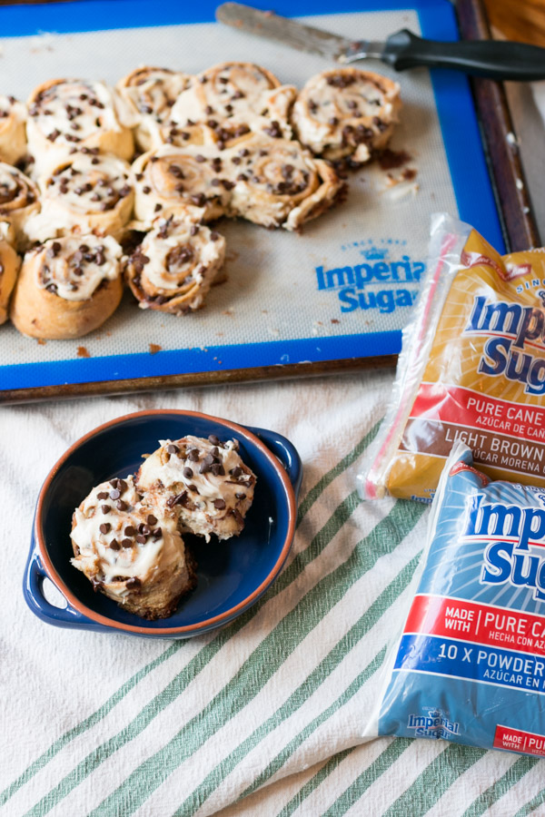 I am really enjoying all this baking for#Choctoberfest 2018! Today I'm sharing an absolutely delicious recipe forEasy Chocolate Chip Cinnamon Buns!! Thanks to our Gold Host, Imperial Sugar, this sweet treat is easy and so tasty!Crescent dough, brown sugar, cinnamon & chocolate finished with a cream cheese frosting- how perfect!