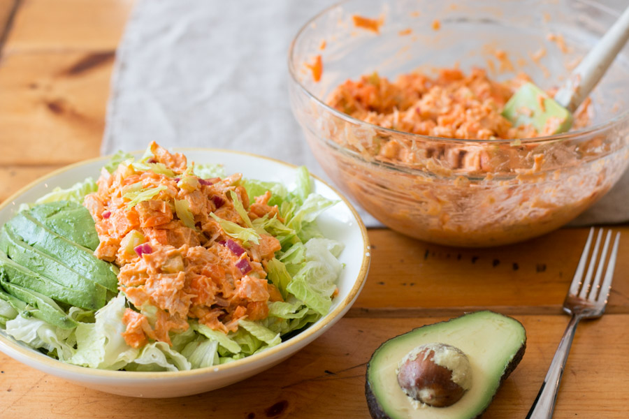 Where are my buffalo chicken lovers? I've got a great one for you without the frying but all the great flavors! This Lightened Up Buffalo Chicken Salad has everything you love about wing night... tender chicken, buffalo sauce, celery and carrots. This is great over lettuce, in a wrap or stuffed into an avocado!