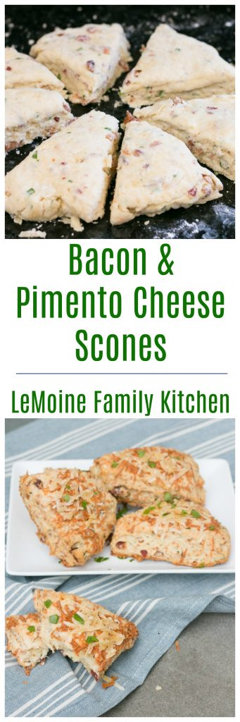 My scone obsession continues with these mouth watering Bacon & Pimento Cheese Scones! Sweet or savory, scones are a favorite of mine to bake up. They are so easy, delicious and the flavor combinations are endless! These are a great balance of salty, cheesy and a little spice.