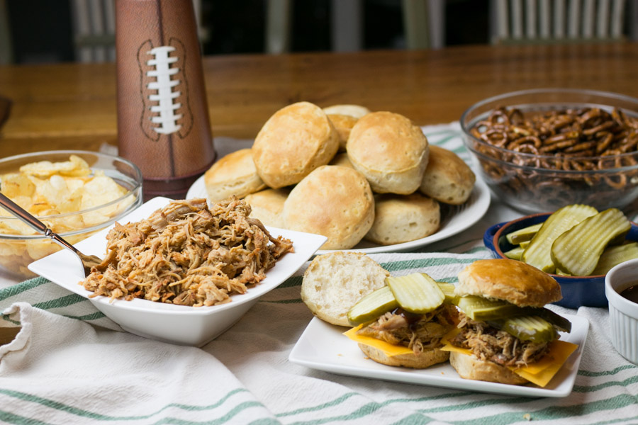 The Big Game is almost here friends and lets be honest, the food is just as important as the game! I am all about gathering friends and family for some great football and delicious and easy eats like my Hatfield Texas Smokehouse Pork Biscuits! Made right in the slow cooker and so full of flavor! This recipe will totally score you a touchdown! #BigGameWithHatfield #SimplyHatfield