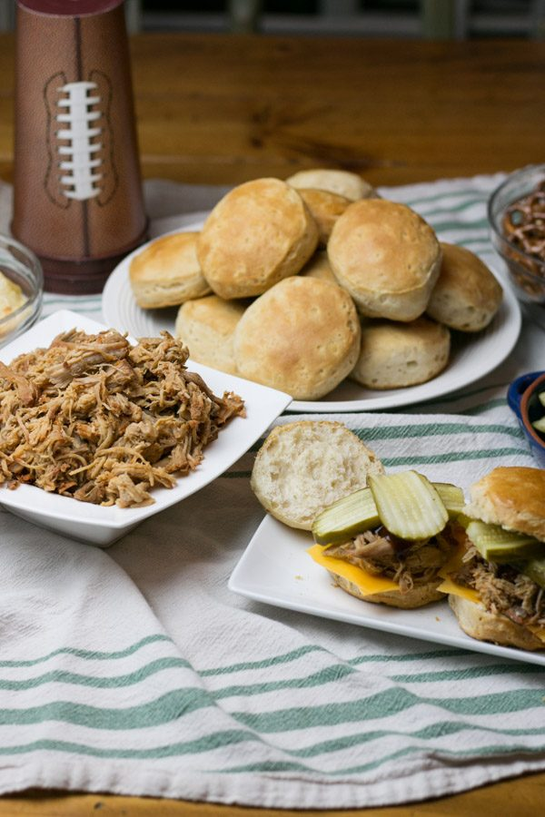 The Big Game is almost here friends and lets be honest, the food is just as important as the game! I am all about gathering friends and family for some great football and delicious and easy eats like myHatfield Texas Smokehouse Pork Biscuits! Made right in the slow cooker and so full of flavor! This recipe will totally score you a touchdown! #BigGameWithHatfield #SimplyHatfield