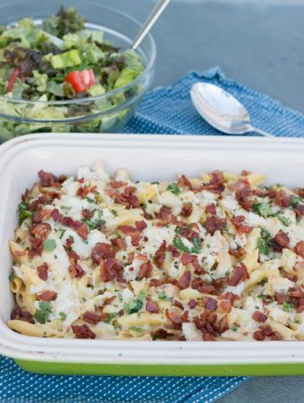 Chicken & Bacon Penne Alfredo Casserole