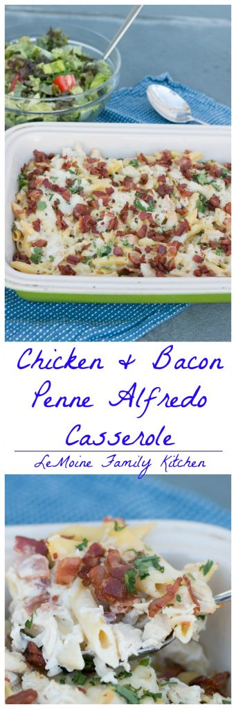 I really need to make more dishes like this one! It was so easy, its seriously tasty and my whole family LOVED it! This Chicken & Bacon Penne Alfredo Casserole comes together so quickly and can be made a day or two ahead of time making it the PERFECT dinner for any night of the week. Plus- BACON- period.