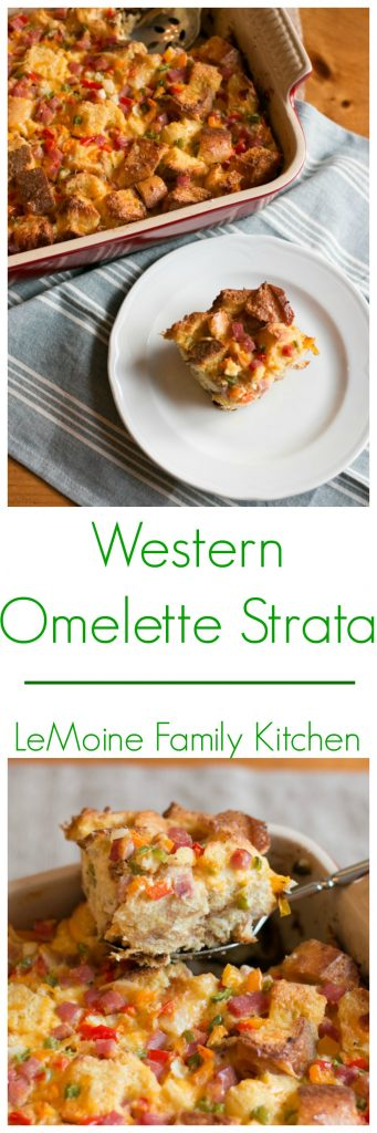 Whether you are hosting a brunch, enjoying a big family breakfast or doing breakfast for dinner this Western Omelette Strata is perfect! Its easy to throw together, can be prepped the night before and feeds a crowd.