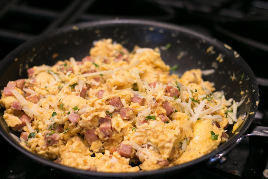 I am so excited to share this delicious recipe with you! Easter is just around the corner and I am thrilled to be hosting a family brunch this year- I just love a good brunch! The dish I'm most excited for my family to try are my Crepes Lorraine. Homemade delicate crepes filled with diced Hatfield ham, onion, eggs and gruyere cheese.  #EasterWithHatfieldHam #simplyHatfield
