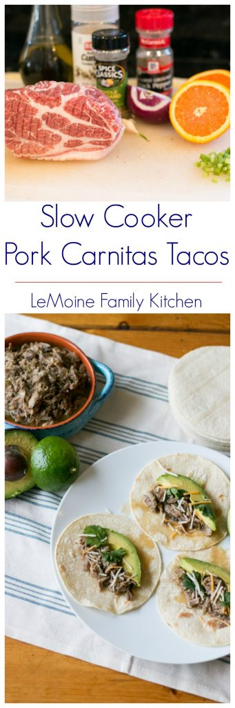 You all have got to try these Slow Cooker Pork Carnitas Tacos!! So easy to make and the flavors are incredible. A pork shoulder is rubbed with oregano, cumin and olive oil. The addition of fresh squeezed orange adds just the perfect hint of brightness. I served the pork carnitas simply with warmed corn tortillas, avocado, cilantro and a bit of shredded cheddar.  #freakyfridayrecipes