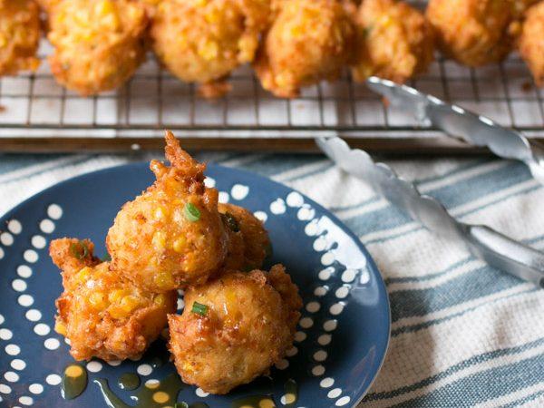 Cheddar Scallion Corn Fritters