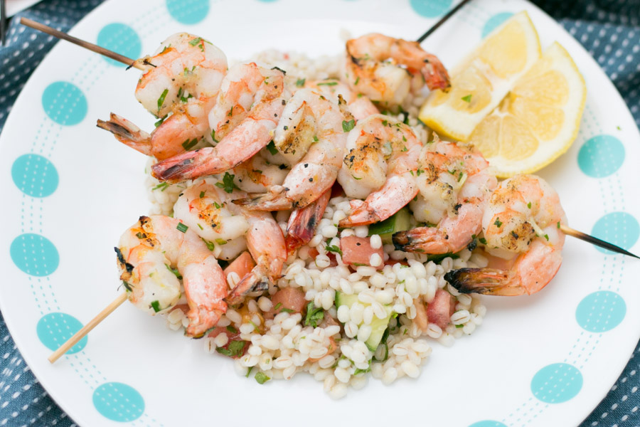 Grilled Garlic & Herb Shrimp over Barley Salad