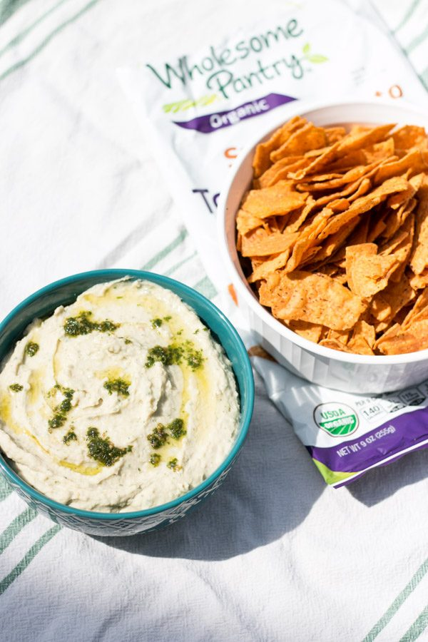 Lemon Basil Pesto White Bean Dip