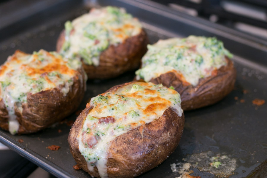 White Cheddar Broccoli Stuffed Baked Potatoes