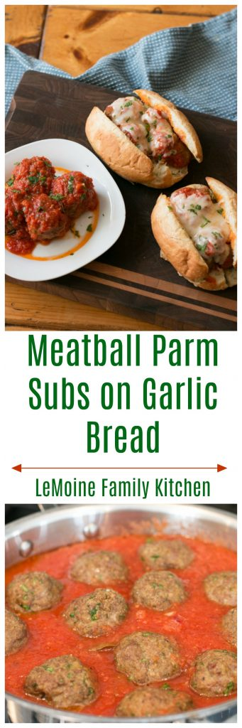 Meatball Parm Subs on Garlic Bread