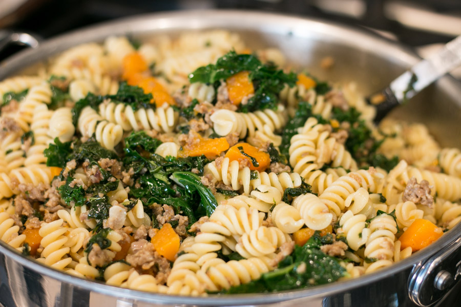 Fusilli with Sausage, Kale and Butternut Squash