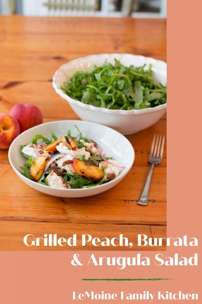 Grilled Peach, Burrata & Arugula Salad